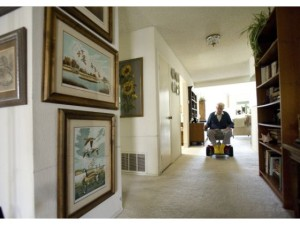 Dee J. Valentine, 100, glides through his Mission Viejo home of 32 years. CINDY YAMANAKA, THE ORANGE COUNTY REGISTER