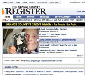 The life review of Pat White, patient at Hospice Care of the West, hits top story at the OC Register inspiring a Part II.