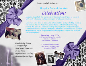 The invitation to the first Celebration! for Hospice Care of the West.