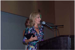Denise Carson, author of the book Parting Ways, accepts the Outstanding Program Achievement Award at the California Hospice and Palliative Care Association Awards Reception in Santa Clara.