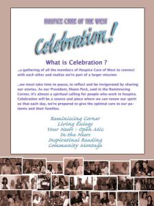 The Celebration! Program of events for #2 Celebration for Hospice Care of the West on September 19, 2012.